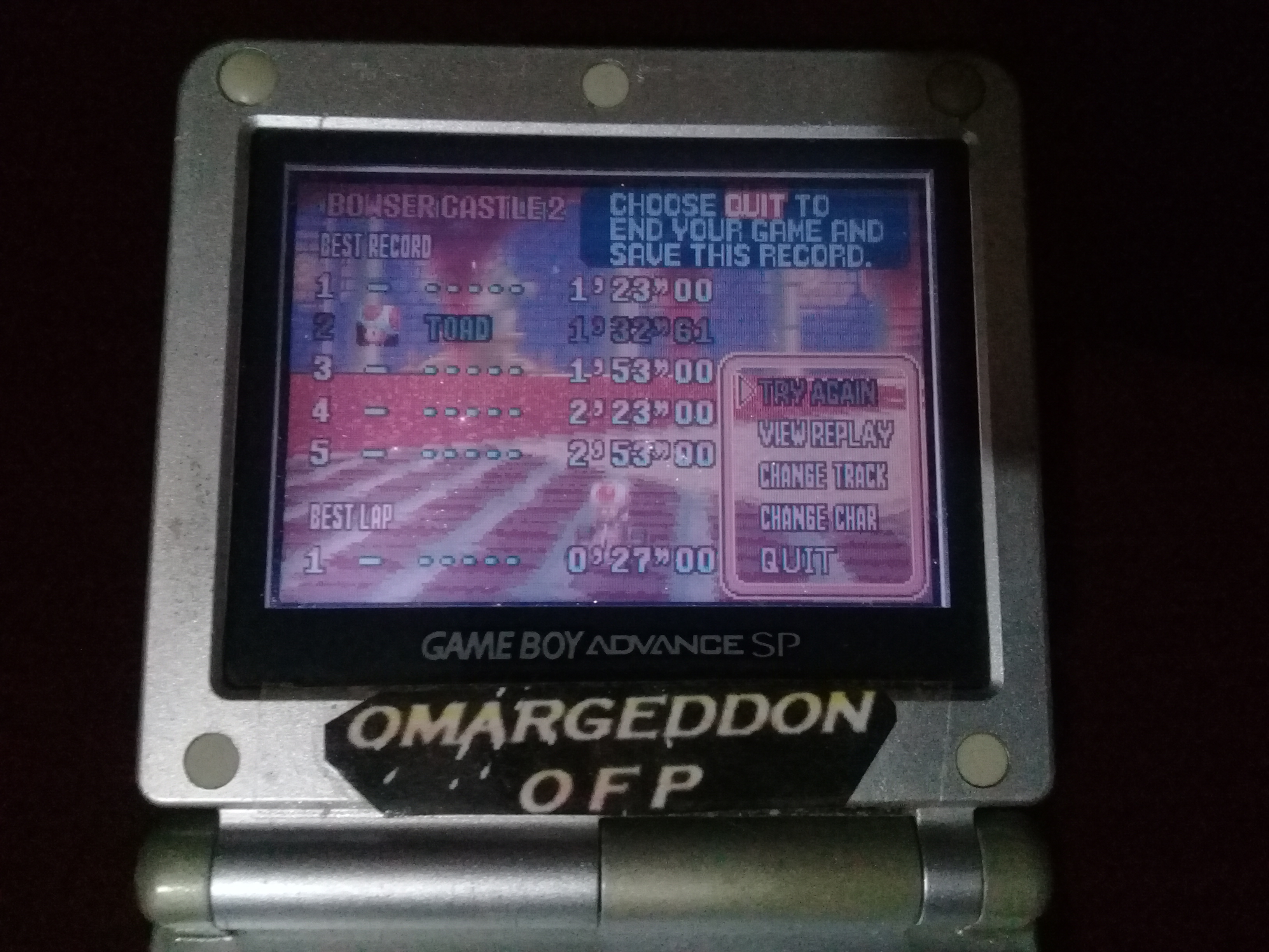 omargeddon: Mario Kart Super Circuit: Bowser Castle 2 [Time Trial] (GBA) 0:01:32.61 points on 2020-06-07 20:51:20