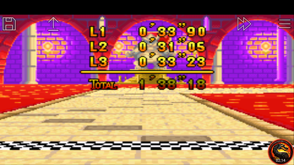 omargeddon: Mario Kart Super Circuit: Bowser Castle 2 [Time Trial] [Lap Time] (GBA Emulated) 0:00:31.05 points on 2020-06-09 01:06:23