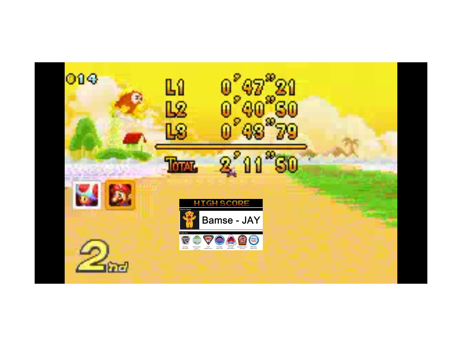 Bamse: Mario Kart Super Circuit: Cheep Cheep Island [100cc] (GBA Emulated) 0:02:11.5 points on 2019-12-17 13:17:23
