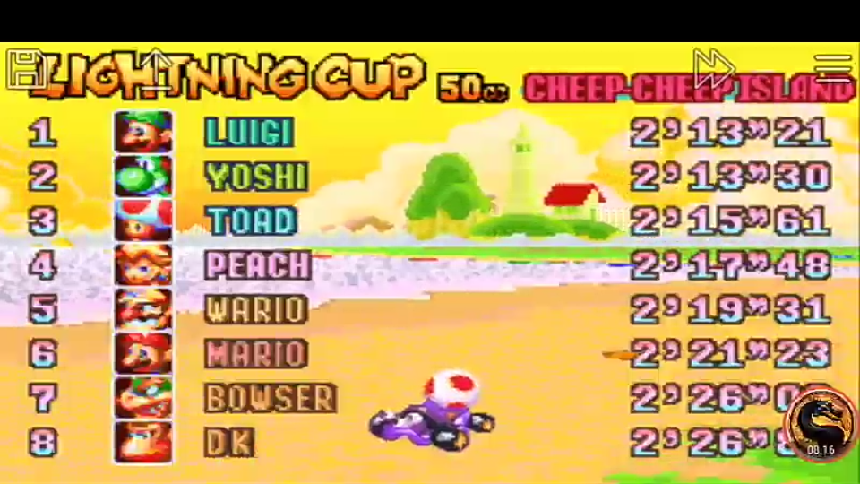 omargeddon: Mario Kart Super Circuit: Cheep Cheep Island [50cc] (GBA Emulated) 0:02:15.61 points on 2019-12-15 20:20:24