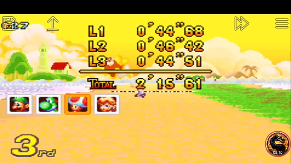omargeddon: Mario Kart Super Circuit: Cheep Cheep Island [50cc] [Lap Time] (GBA Emulated) 0:00:44.51 points on 2019-12-15 20:21:14