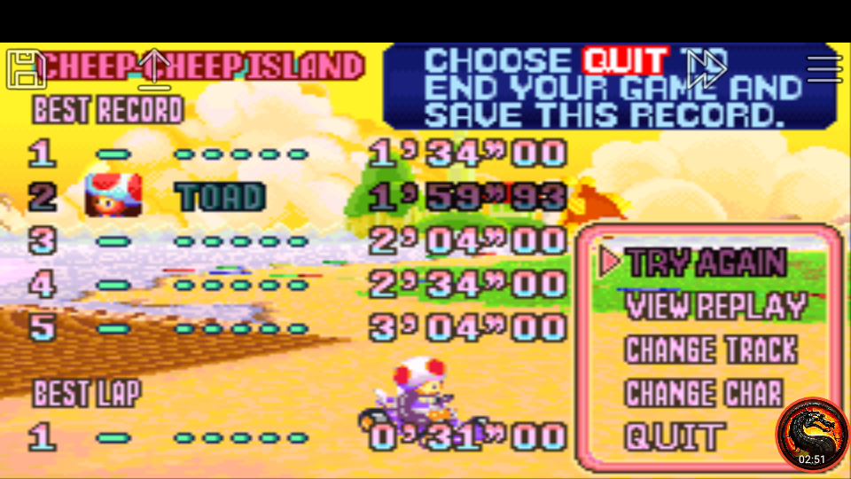 omargeddon: Mario Kart Super Circuit: Cheep Cheep Island [Time Trial] (GBA Emulated) 0:01:59.93 points on 2020-06-09 01:13:50