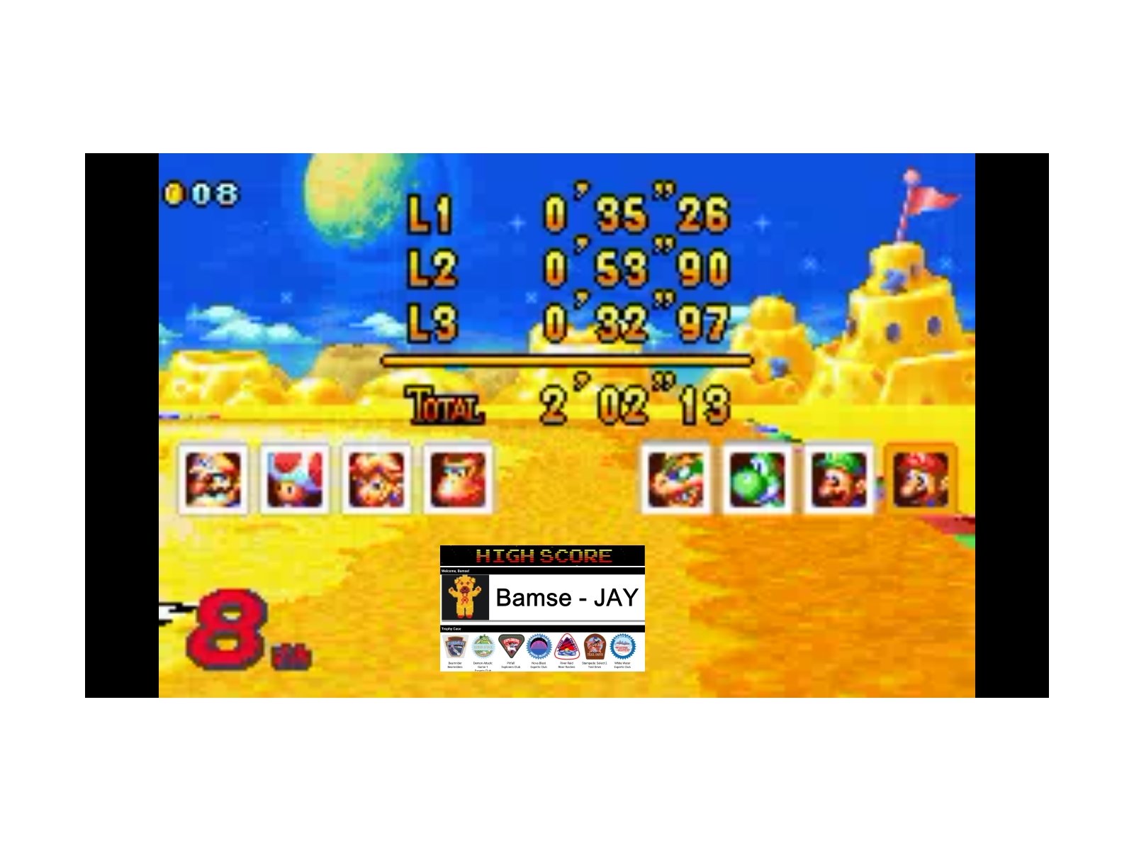 Bamse: Mario Kart Super Circuit: Cheese Land [150cc] (GBA Emulated) 0:02:02.13 points on 2019-12-17 13:34:55