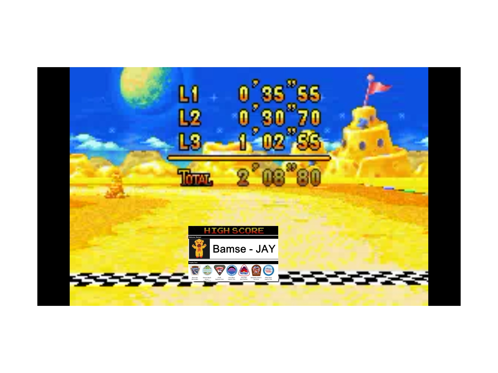 Mario Kart Super Circuit: Cheese Land [50cc] time of 0:02:08.8