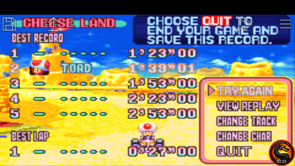 omargeddon: Mario Kart Super Circuit: Cheese Land [Time Trial] (GBA Emulated) 0:01:39.01 points on 2020-06-09 01:00:05