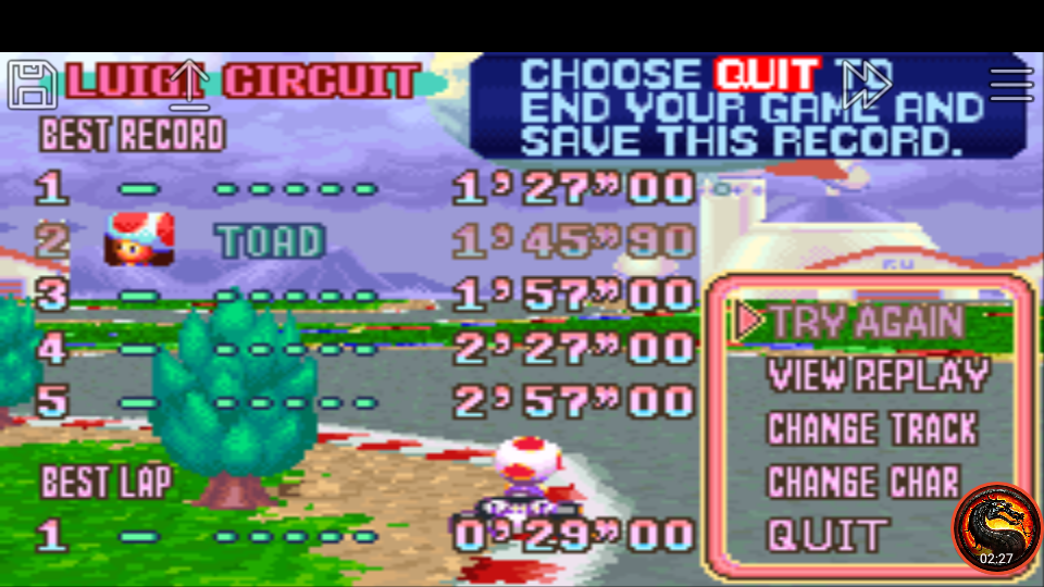 omargeddon: Mario Kart Super Circuit: Luigi Circuit [Time Trial] (GBA Emulated) 0:01:45.9 points on 2020-06-09 01:08:27