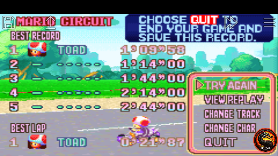 omargeddon: Mario Kart Super Circuit: Mario Circuit [Time Trial] (GBA Emulated) 0:01:09.58 points on 2020-06-09 00:51:35