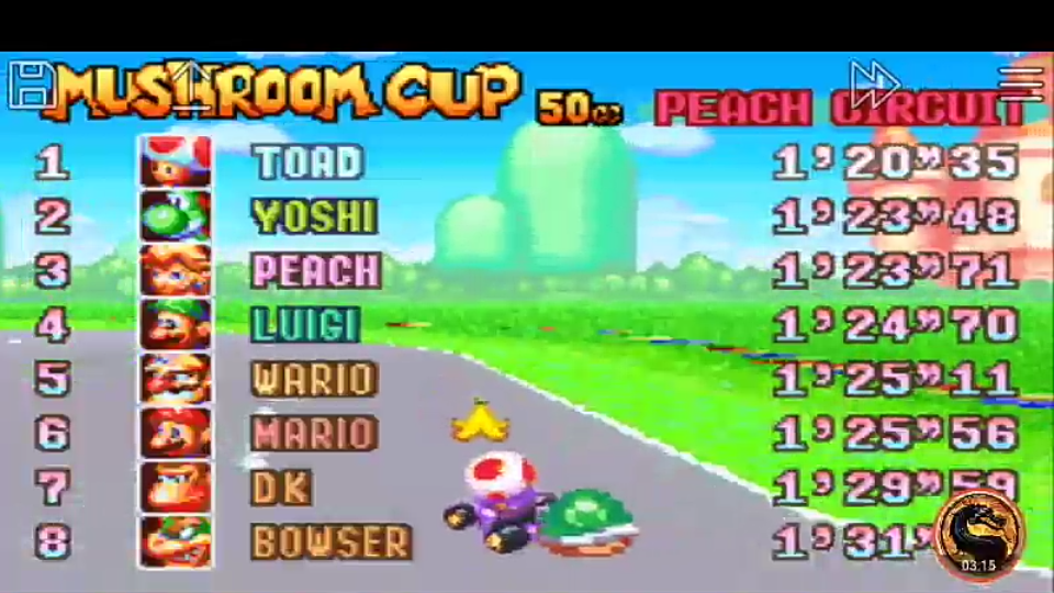 omargeddon: Mario Kart Super Circuit: Peach Circuit [50cc] (GBA Emulated) 0:01:20.35 points on 2019-12-14 10:21:41