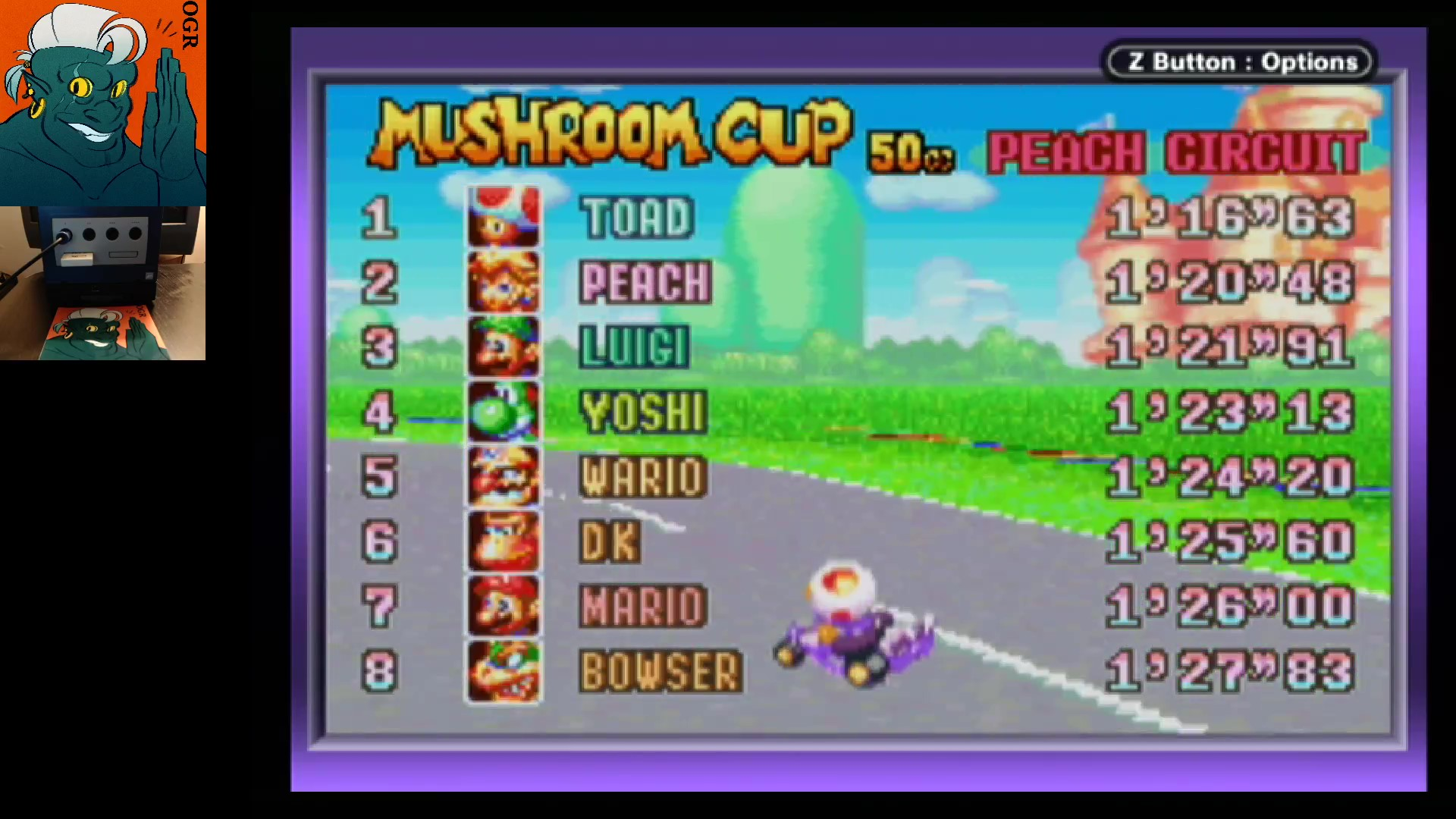AwesomeOgre: Mario Kart Super Circuit: Peach Circuit [50cc] (GBA) 0:01:16.63 points on 2020-05-27 04:13:15