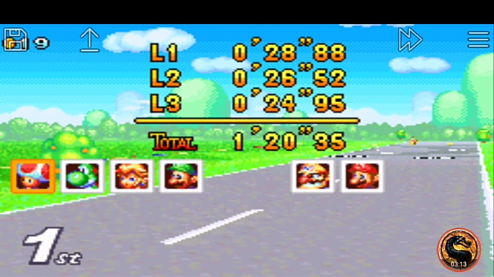 omargeddon: Mario Kart Super Circuit: Peach Circuit [50cc] [Lap Time] (GBA Emulated) 0:00:24.95 points on 2019-12-14 10:23:26