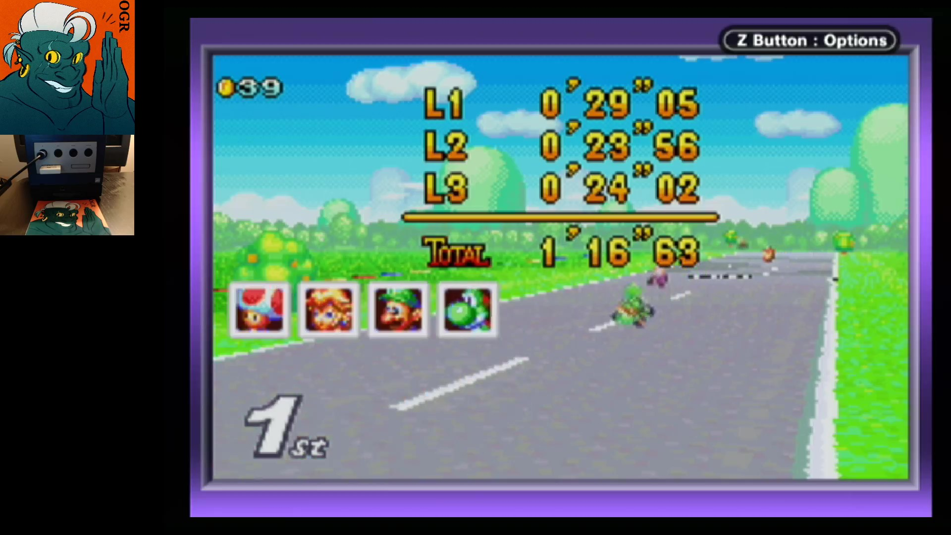 AwesomeOgre: Mario Kart Super Circuit: Peach Circuit [50cc] [Lap Time] (GBA) 0:00:23.56 points on 2020-05-27 04:15:39