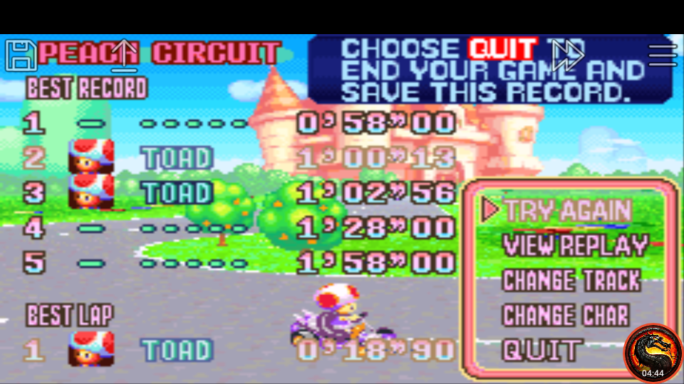 omargeddon: Mario Kart Super Circuit: Peach Circuit [Time Trial] (GBA Emulated) 0:01:00.13 points on 2020-06-08 13:19:41