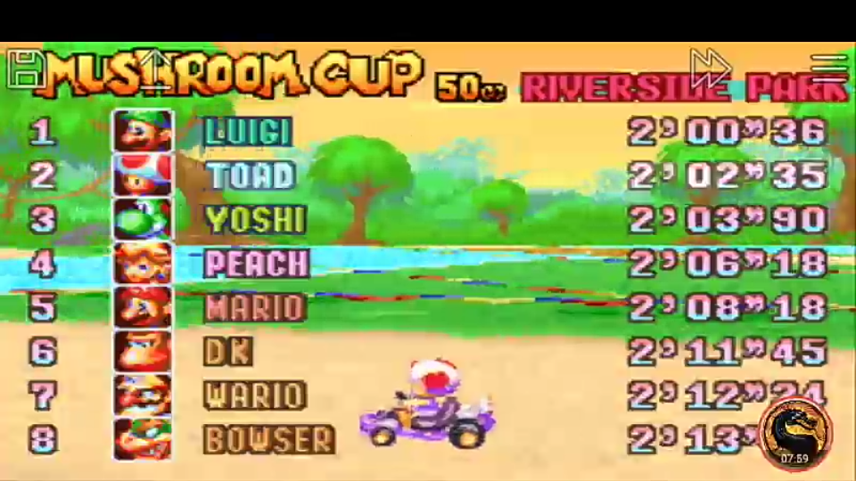 omargeddon: Mario Kart Super Circuit: Riverside Park [50cc] (GBA Emulated) 0:02:02.35 points on 2019-12-14 10:31:01