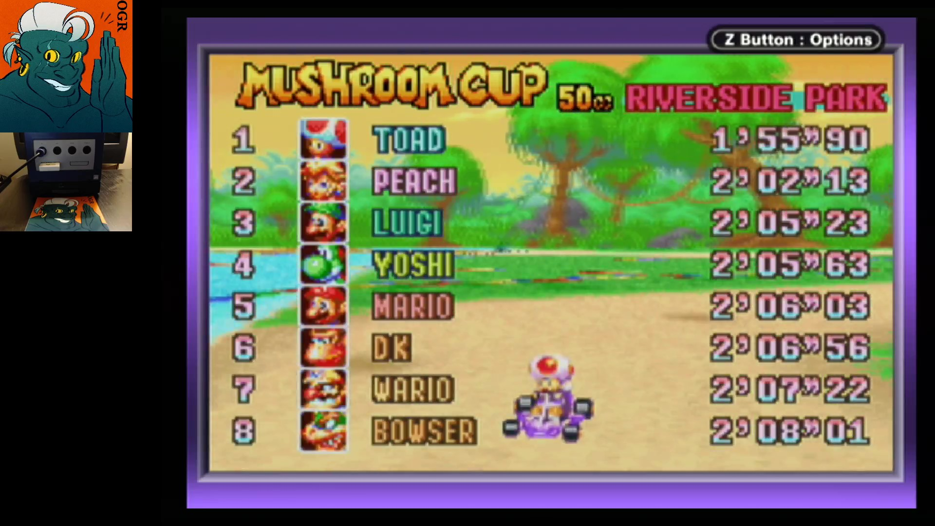 AwesomeOgre: Mario Kart Super Circuit: Riverside Park [50cc] (GBA) 0:01:55.9 points on 2020-05-27 04:19:16
