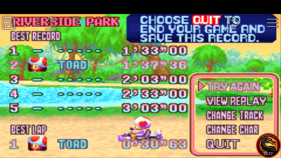 omargeddon: Mario Kart Super Circuit: Riverside Park [Time Trial] (GBA Emulated) 0:01:37.36 points on 2020-06-08 13:47:00