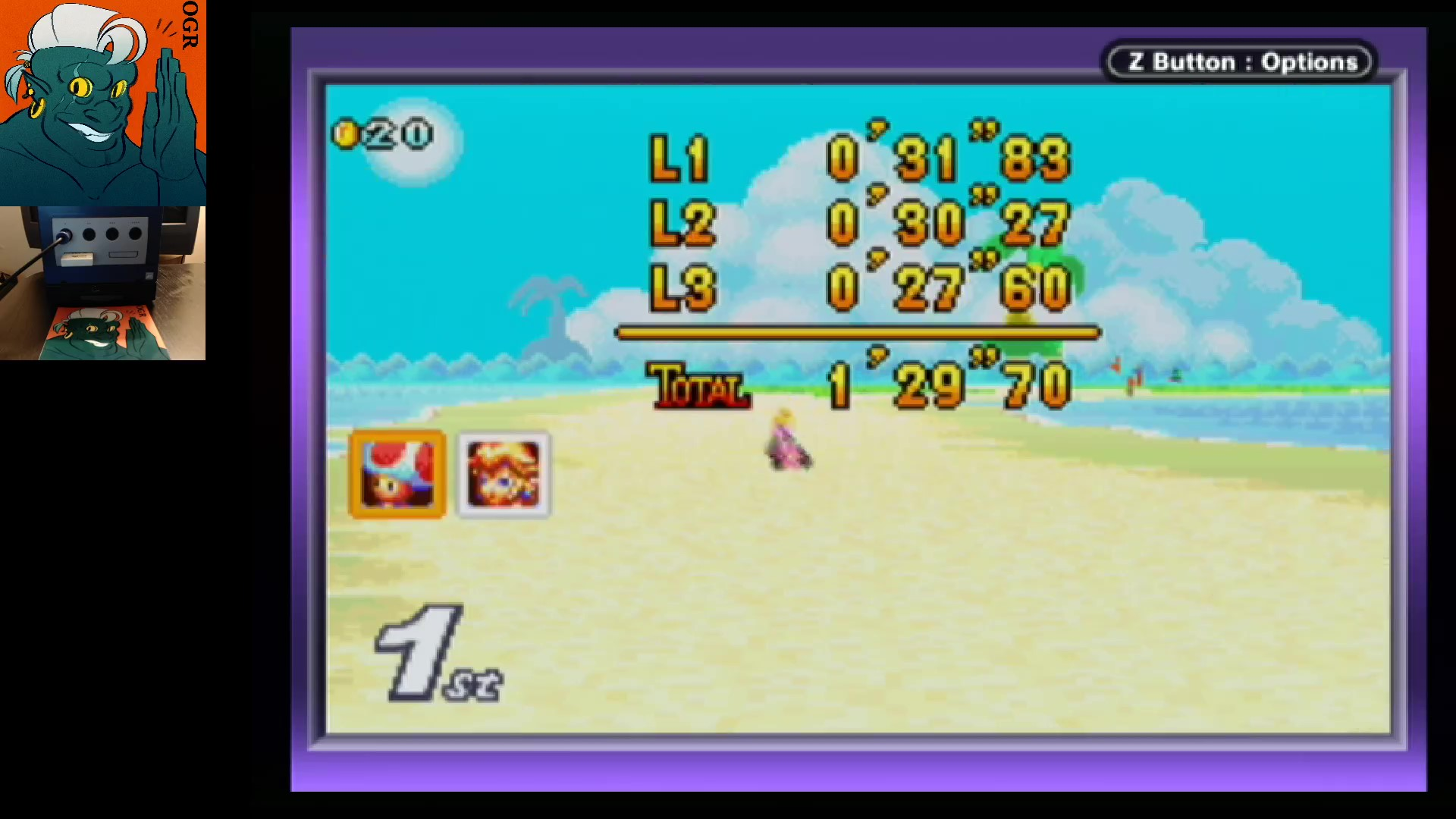 AwesomeOgre: Mario Kart Super Circuit: Shy Guy Beach [50cc] [Lap Time] (GBA) 0:00:27.6 points on 2020-05-27 04:18:11