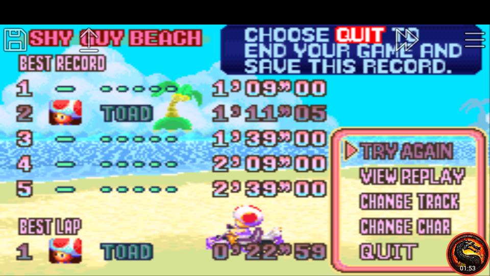 omargeddon: Mario Kart Super Circuit: Shy Guy Beach [Time Trial] (GBA Emulated) 0:01:11.05 points on 2020-06-08 13:25:31