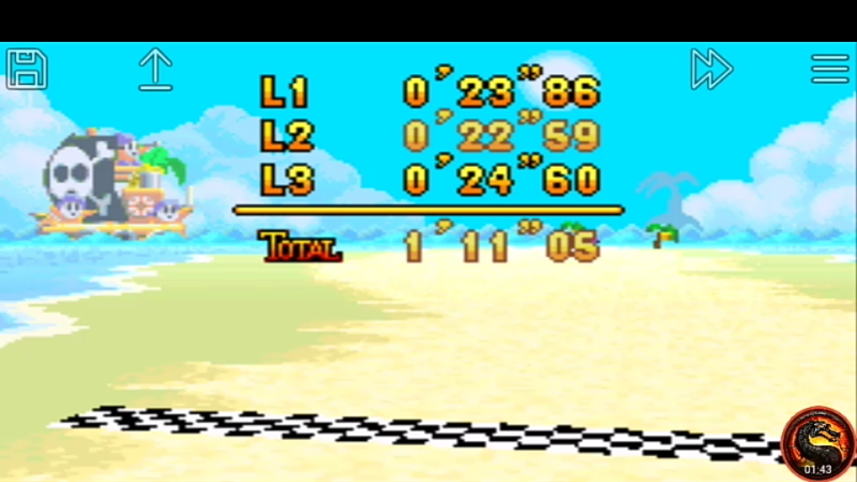 omargeddon: Mario Kart Super Circuit: Shy Guy Beach [Time Trial] [Lap Time] (GBA Emulated) 0:00:22.59 points on 2020-06-08 13:45:49