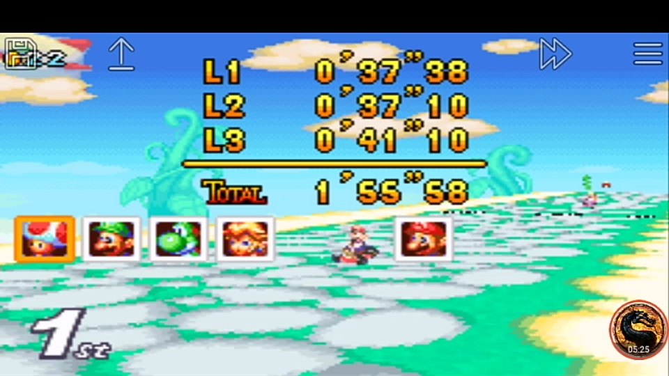 omargeddon: Mario Kart Super Circuit: Sky Garden [50cc] (GBA Emulated) 0:01:55.58 points on 2019-12-15 20:18:48
