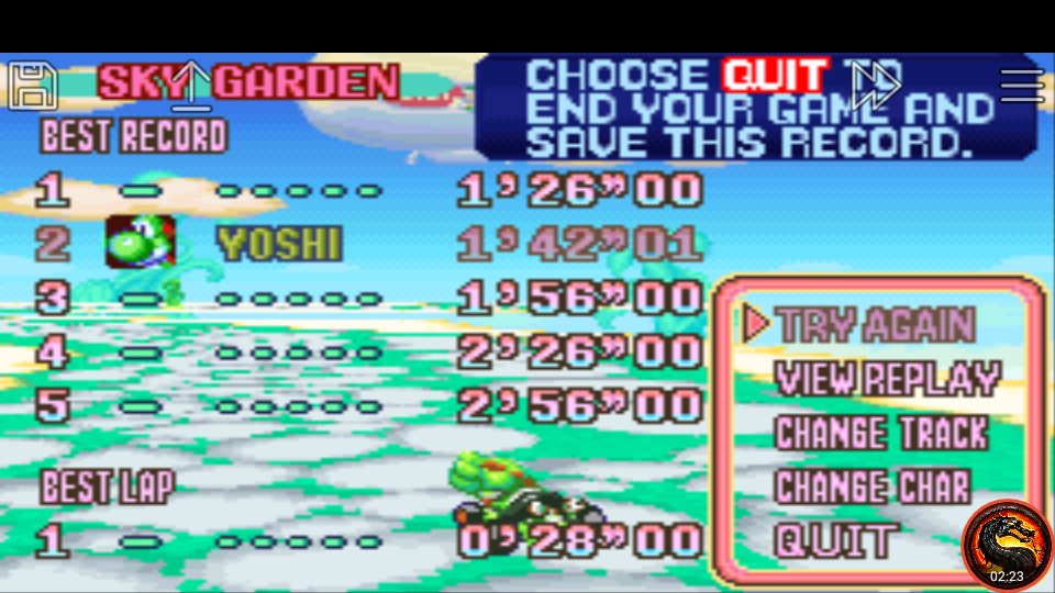omargeddon: Mario Kart Super Circuit: Sky Garden [Time Trial] (GBA Emulated) 0:01:42.01 points on 2020-06-09 01:10:59