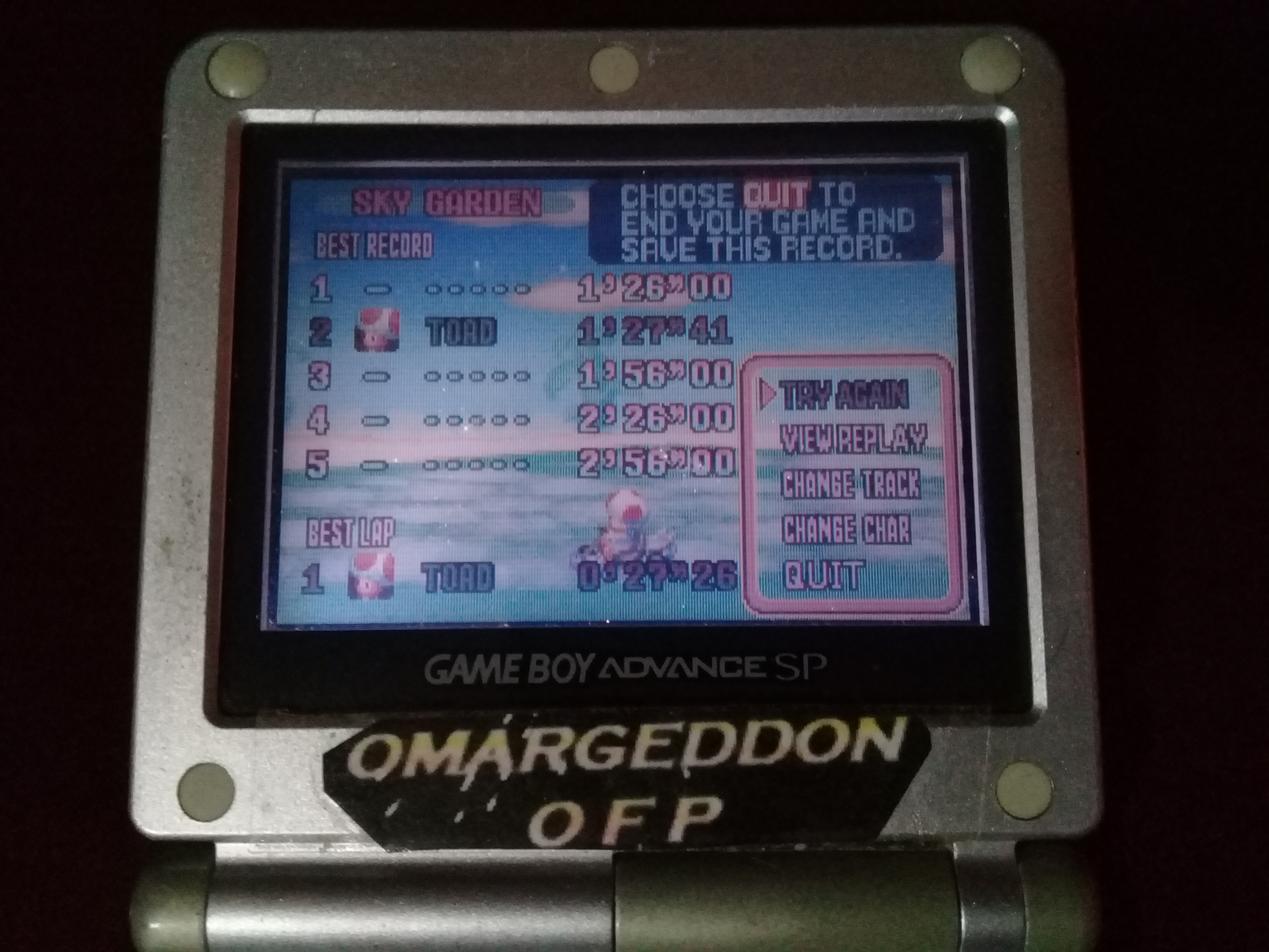 omargeddon: Mario Kart Super Circuit: Sky Garden [Time Trial] (GBA) 0:01:27.41 points on 2020-06-14 13:17:11