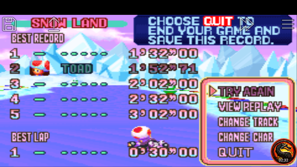 omargeddon: Mario Kart Super Circuit: Snow Land [Time Trial] (GBA Emulated) 0:01:52.71 points on 2020-06-09 01:18:58