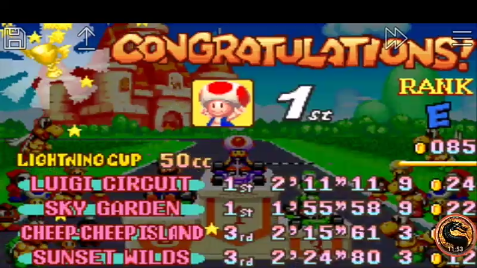 omargeddon: Mario Kart Super Circuit: Sunset Wilds [50cc] (GBA Emulated) 0:02:24.8 points on 2019-12-15 20:22:16