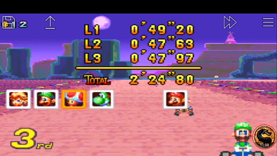 omargeddon: Mario Kart Super Circuit: Sunset Wilds [50cc] [Lap Time] (GBA Emulated) 0:00:47.63 points on 2019-12-15 20:23:15