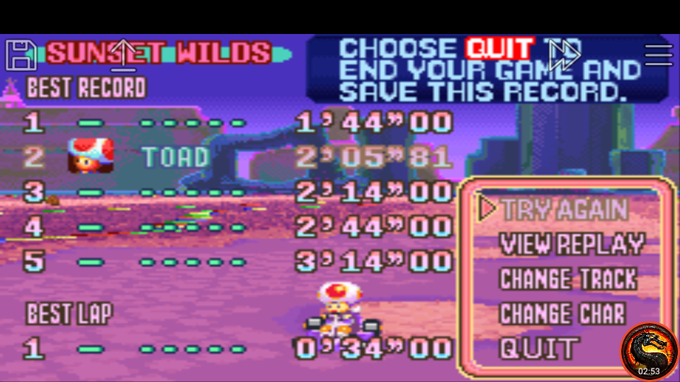 omargeddon: Mario Kart Super Circuit: Sunset Wilds [Time Trial] (GBA Emulated) 0:02:05.81 points on 2020-06-09 01:16:22