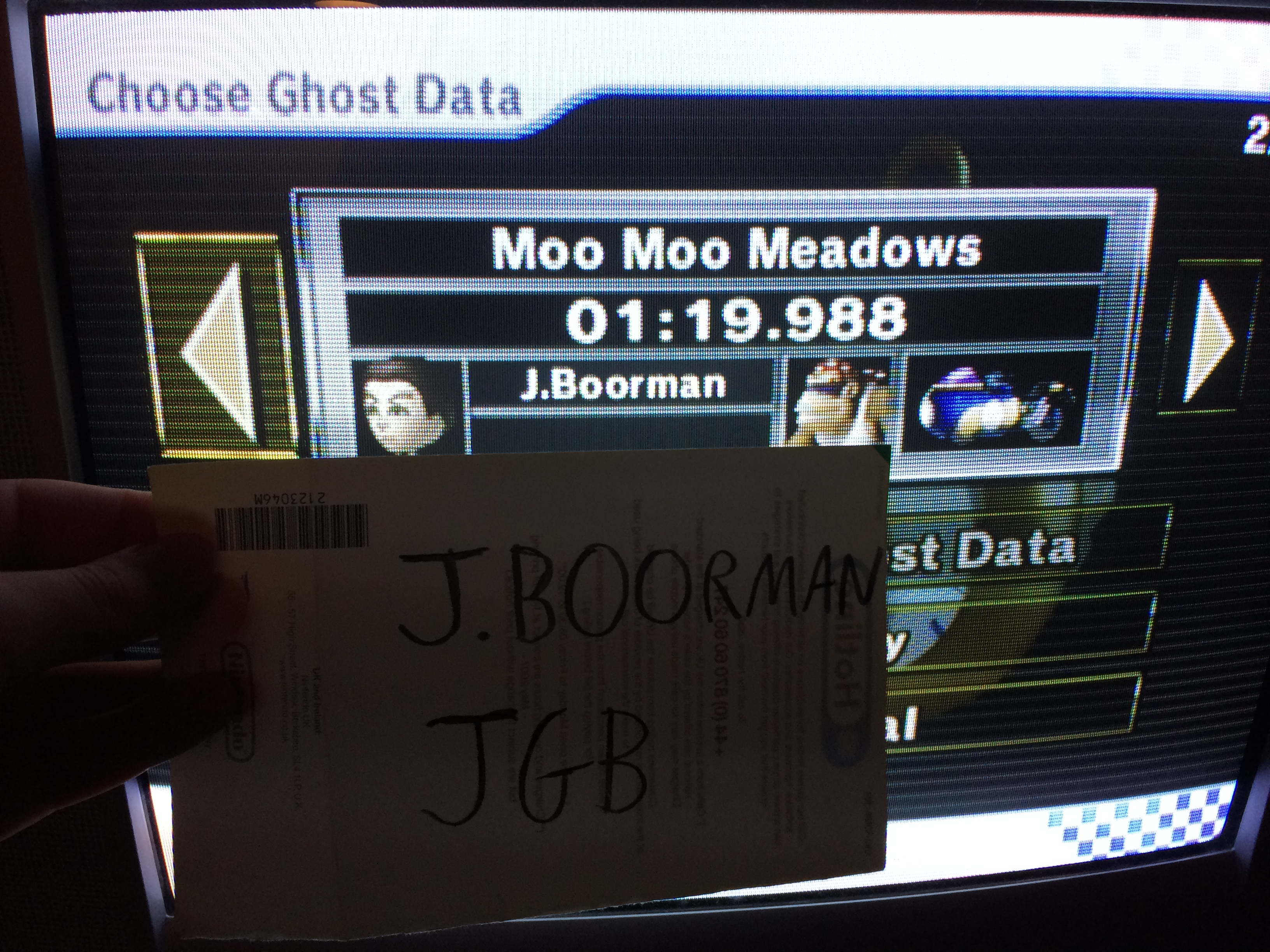 Mario Kart Wii: Time Trials: Moo Moo Meadows [Best Time] time of 0:01:19.988