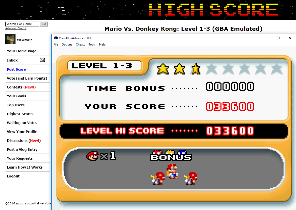 FosterAMF: Mario Vs. Donkey Kong: Level 1-3 (GBA Emulated) 33,600 points on 2016-02-03 02:27:40