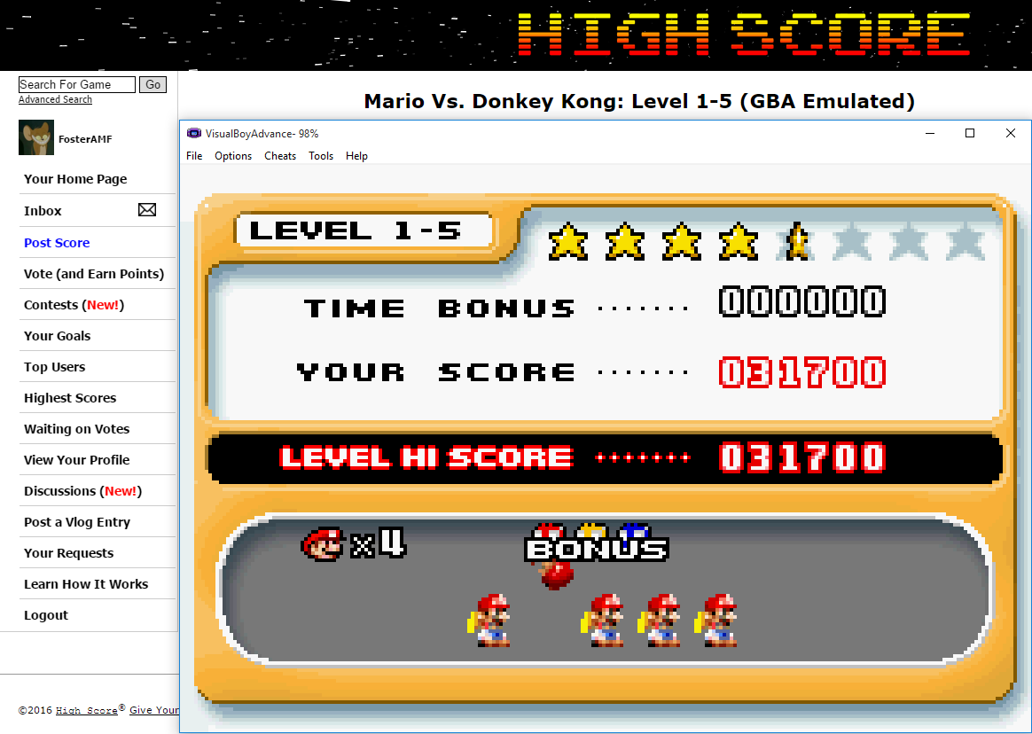 FosterAMF: Mario Vs. Donkey Kong: Level 1-5 (GBA Emulated) 31,700 points on 2016-02-03 02:40:49