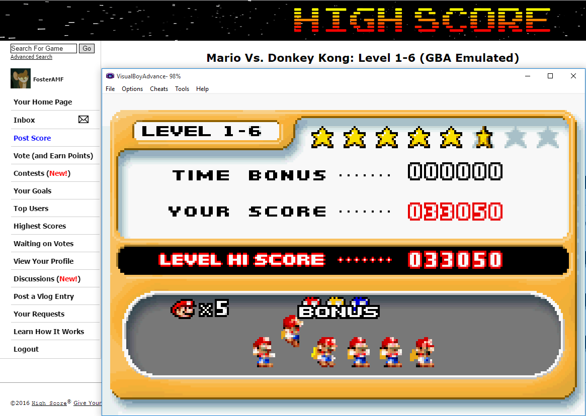 FosterAMF: Mario Vs. Donkey Kong: Level 1-6 (GBA Emulated) 33,050 points on 2016-02-03 02:57:29