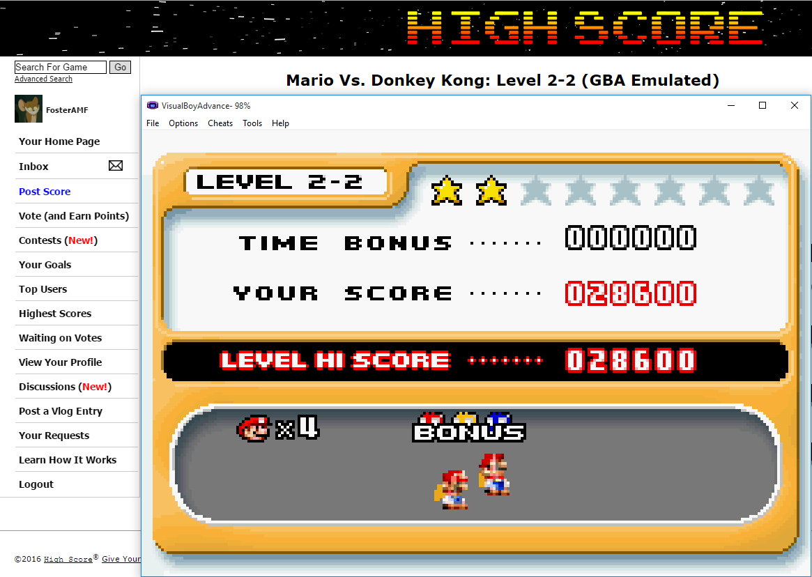 FosterAMF: Mario Vs. Donkey Kong: Level 2-2 (GBA Emulated) 28,600 points on 2016-02-06 17:15:03