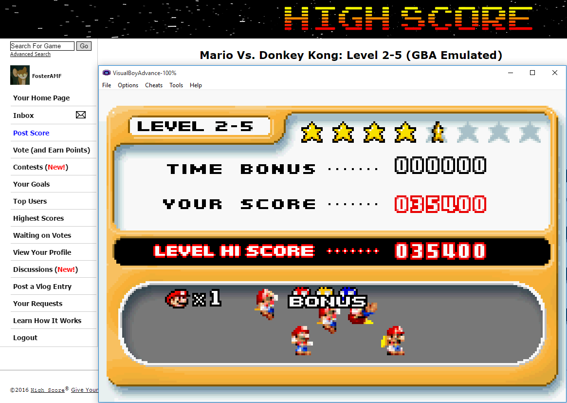 FosterAMF: Mario Vs. Donkey Kong: Level 2-5 (GBA Emulated) 35,400 points on 2016-02-09 14:58:37