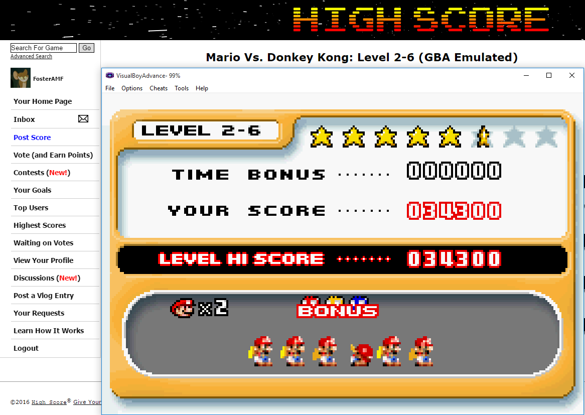 FosterAMF: Mario Vs. Donkey Kong: Level 2-6 (GBA Emulated) 34,300 points on 2016-02-09 15:18:16