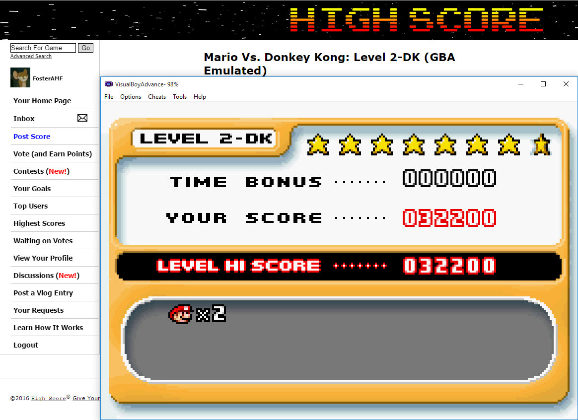 FosterAMF: Mario Vs. Donkey Kong: Level 2-DK (GBA Emulated) 32,200 points on 2016-02-09 15:27:58