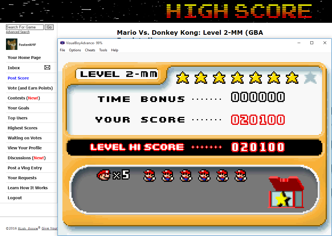 FosterAMF: Mario Vs. Donkey Kong: Level 2-MM (GBA Emulated) 20,100 points on 2016-02-09 15:24:38