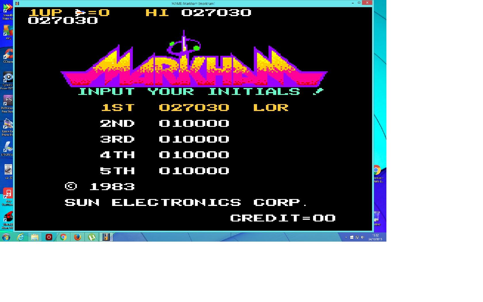 lenny2571: Markham [markham] (Arcade Emulated / M.A.M.E.) 27,030 points on 2015-12-24 08:53:30