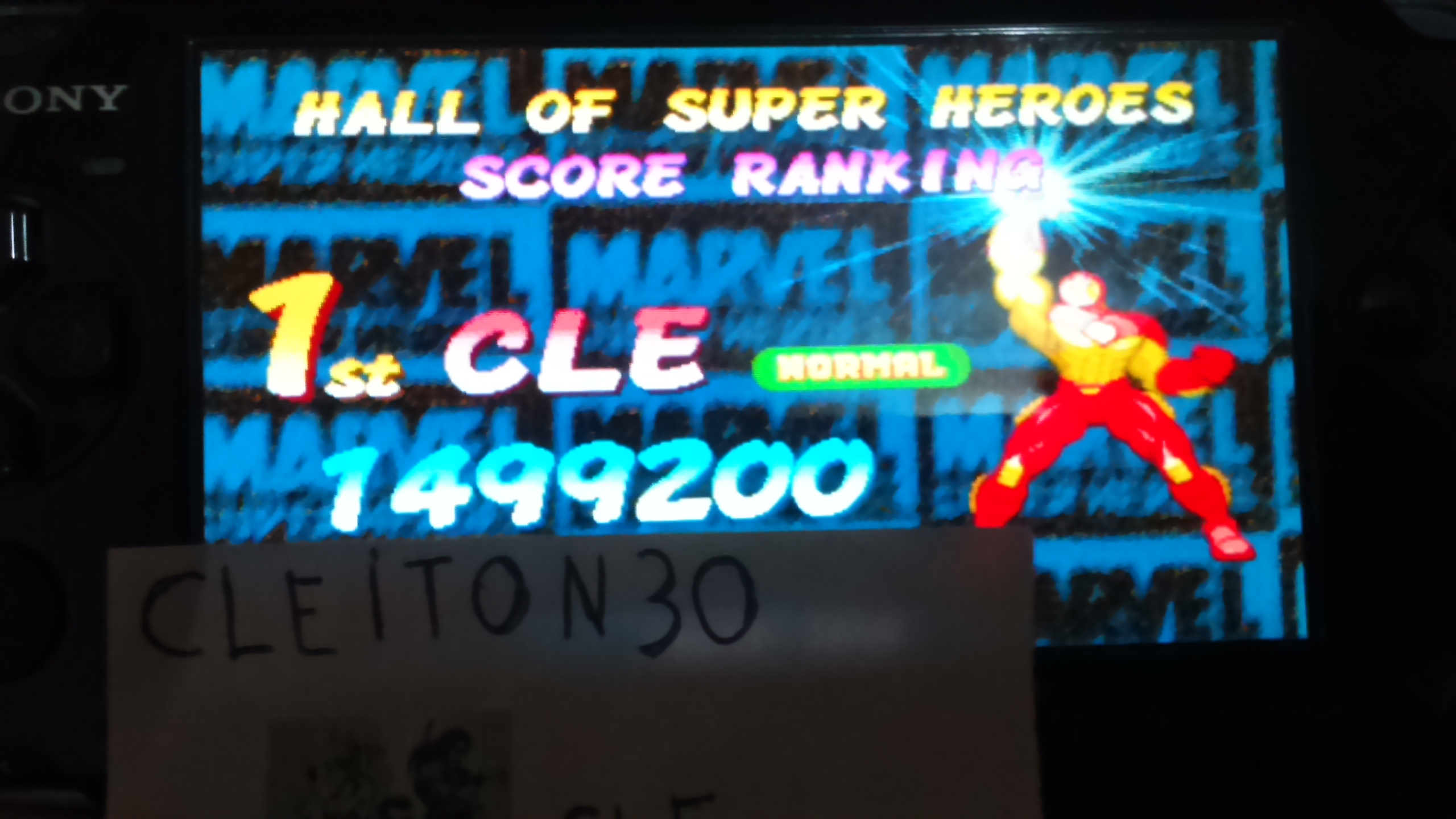 Cleiton30: Marvel Super Heroes [msh] (Arcade Emulated / M.A.M.E.) 1,499,200 points on 2016-05-21 16:35:53