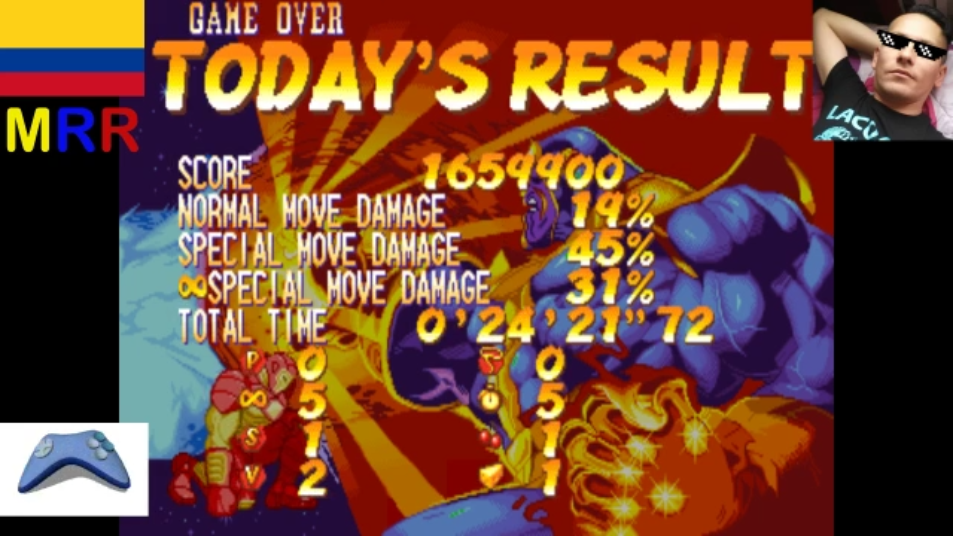 AmoKronos: Marvel Super Heroes [msh] (Arcade Emulated / M.A.M.E.) 1,659,900 points on 2017-05-05 05:43:22