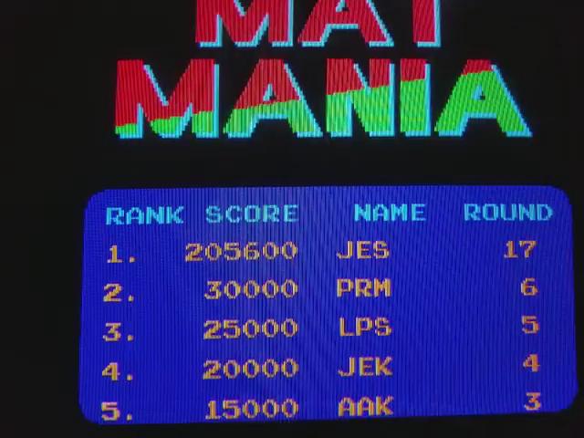 Mat Mania 205,600 points