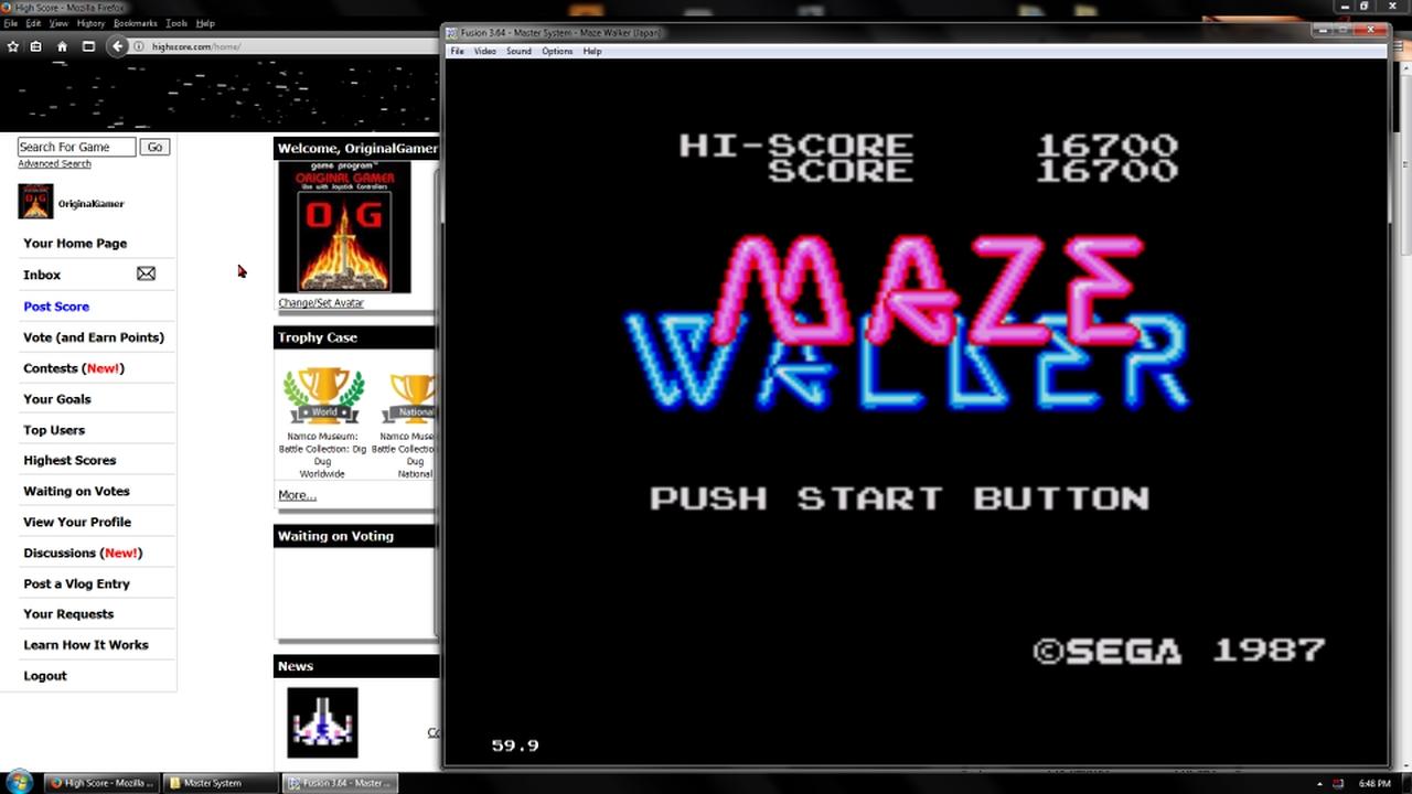 OriginalGamer: Maze Walker (Sega Master System Emulated) 16,700 points on 2018-02-19 18:21:30