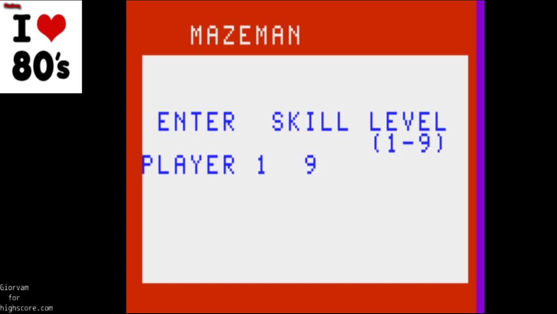 Giorvam: Mazeman [3 Pacmen / Skill 9] (Astrocade Emulated) 8,989 points on 2020-01-03 17:28:36