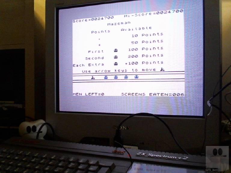 GTibel: Mazeman (ZX Spectrum) 24,700 points on 2017-11-17 07:14:35