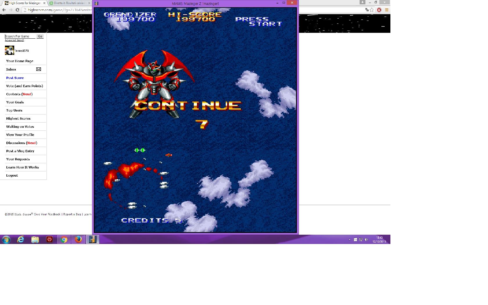 lenny2571: Mazinger Z [World] [mazinger] (Arcade Emulated / M.A.M.E.) 199,700 points on 2015-12-12 11:44:30