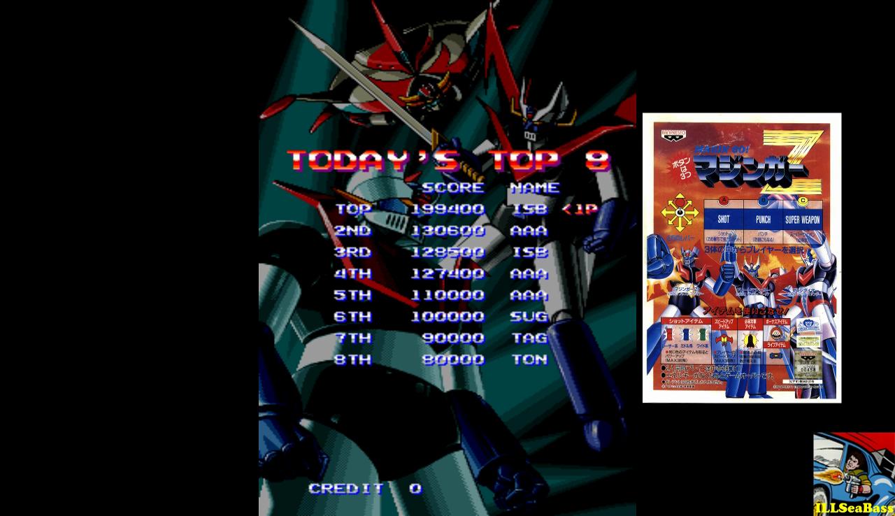 ILLSeaBass: Mazinger Z [World] [mazinger] (Arcade Emulated / M.A.M.E.) 199,400 points on 2016-12-24 02:01:14