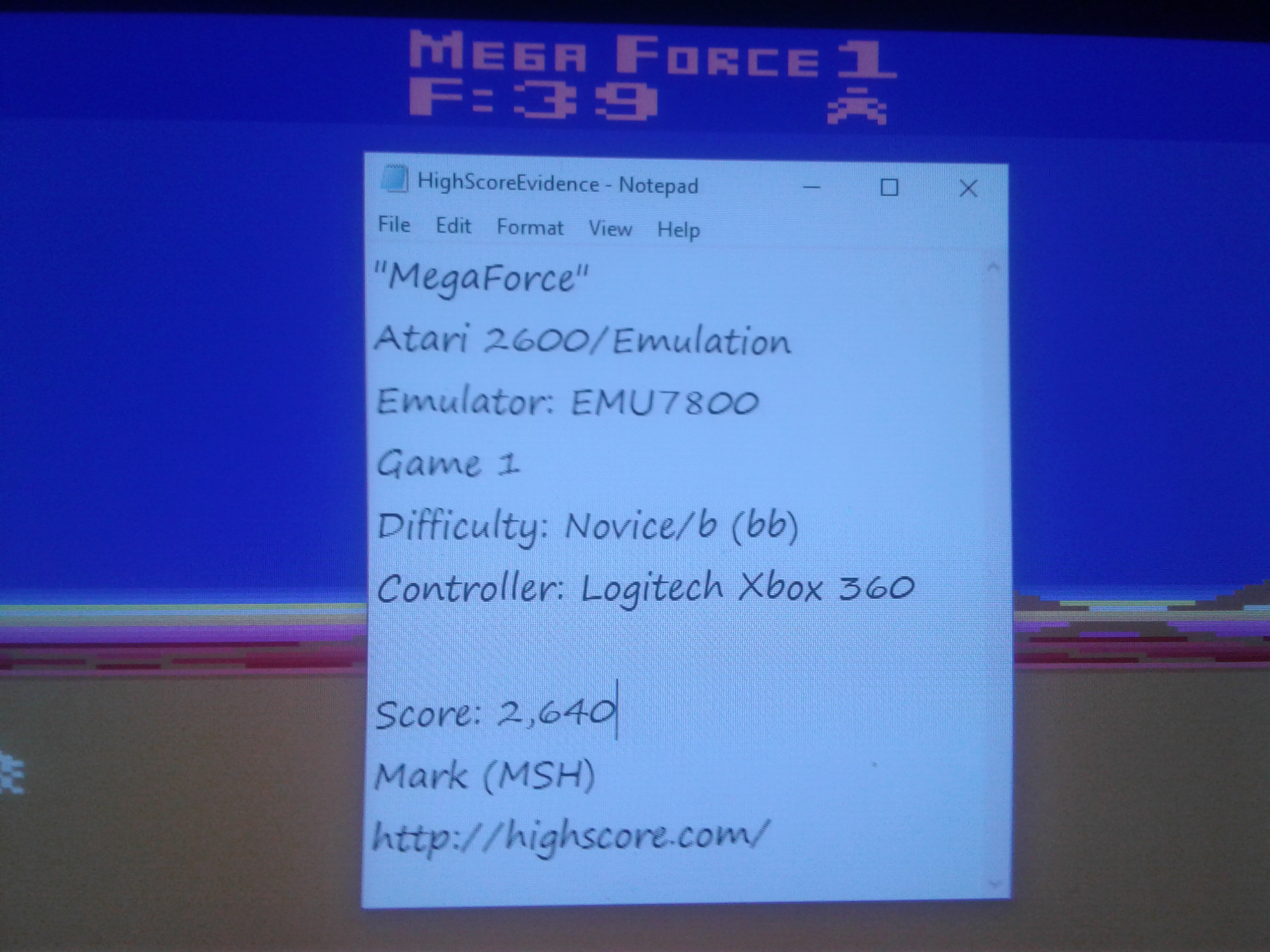 Mark: Mega Force (Atari 2600 Emulated Novice/B Mode) 2,640 points on 2019-02-02 02:03:28