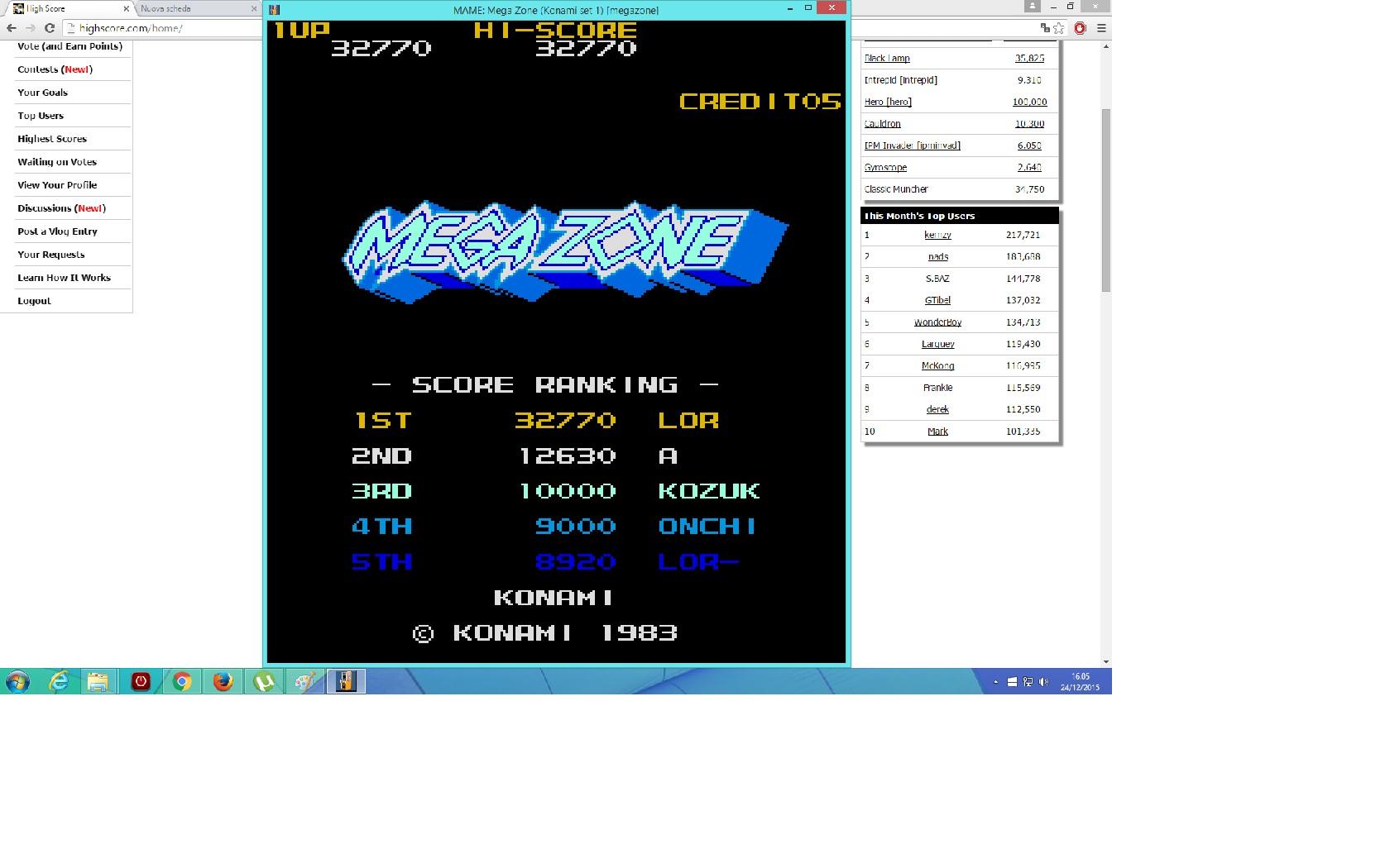 lenny2571: Mega Zone [megazone] (Arcade Emulated / M.A.M.E.) 32,770 points on 2015-12-24 09:06:49
