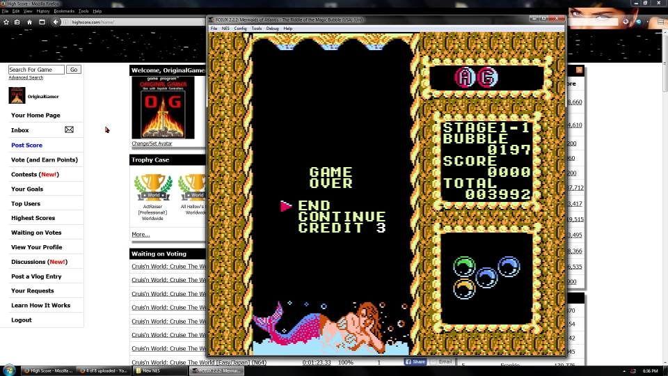 OriginalGamer: Mermaids of Atlantis [Easy/Stage 1/Level 1] (NES/Famicom Emulated) 3,992 points on 2016-08-26 04:07:50